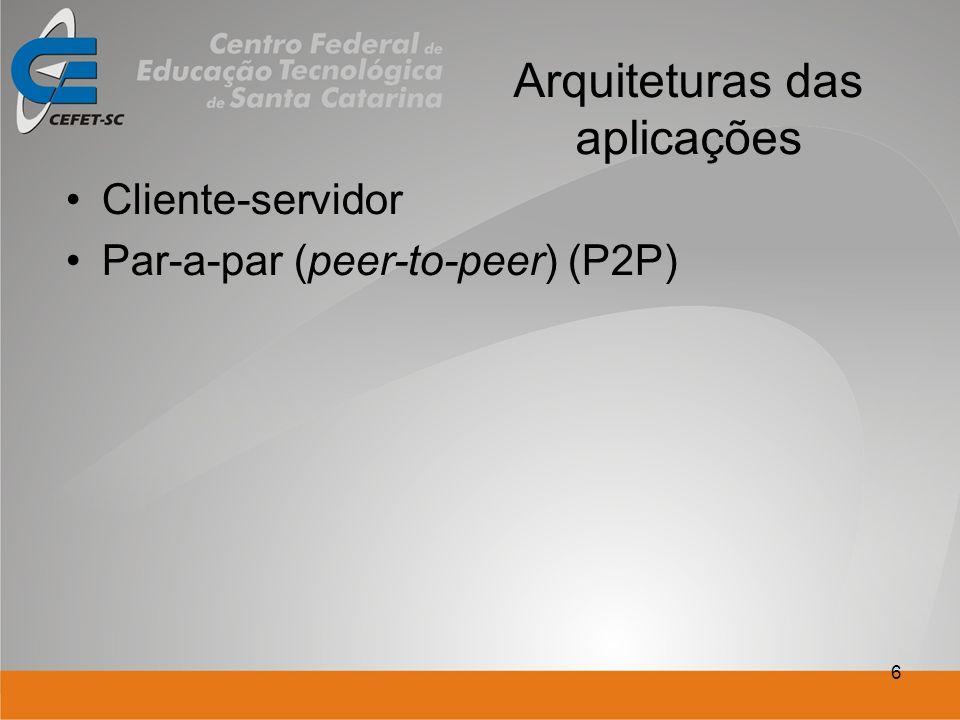 6 Arquiteturas das aplicações Cliente-servidor Par-a-par (peer-to-peer) (P2P)
