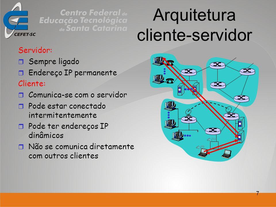 7 Arquitetura cliente-servidor Servidor: Sempre ligado Endereço IP permanente Cliente: Comunica-se com o servidor Pode estar conectado intermitentemente Pode ter endereços IP dinâmicos Não se comunica diretamente com outros clientes