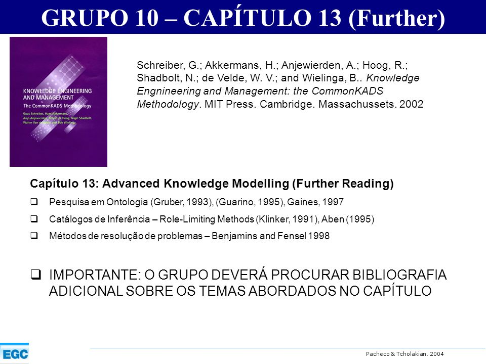 Pacheco & Tcholakian. 2004 GRUPO 10 – CAPÍTULO 13 (Further) Capítulo 13: Advanced Knowledge Modelling (Further Reading) Pesquisa em Ontologia (Gruber,