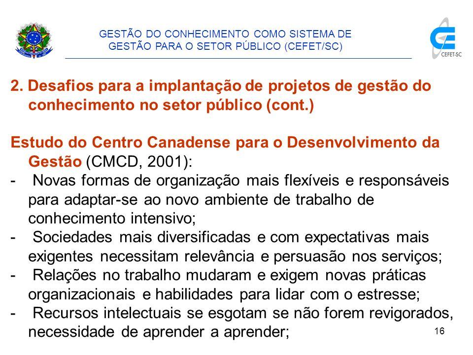 17 GESTÃO DO CONHECIMENTO COMO SISTEMA DE GESTÃO PARA O SETOR PÚBLICO (CEFET/SC) 2.
