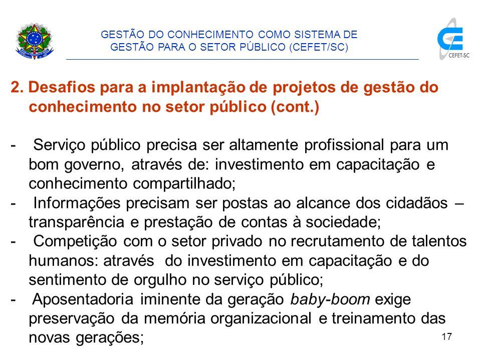 18 GESTÃO DO CONHECIMENTO COMO SISTEMA DE GESTÃO PARA O SETOR PÚBLICO (CEFET/SC) 2.