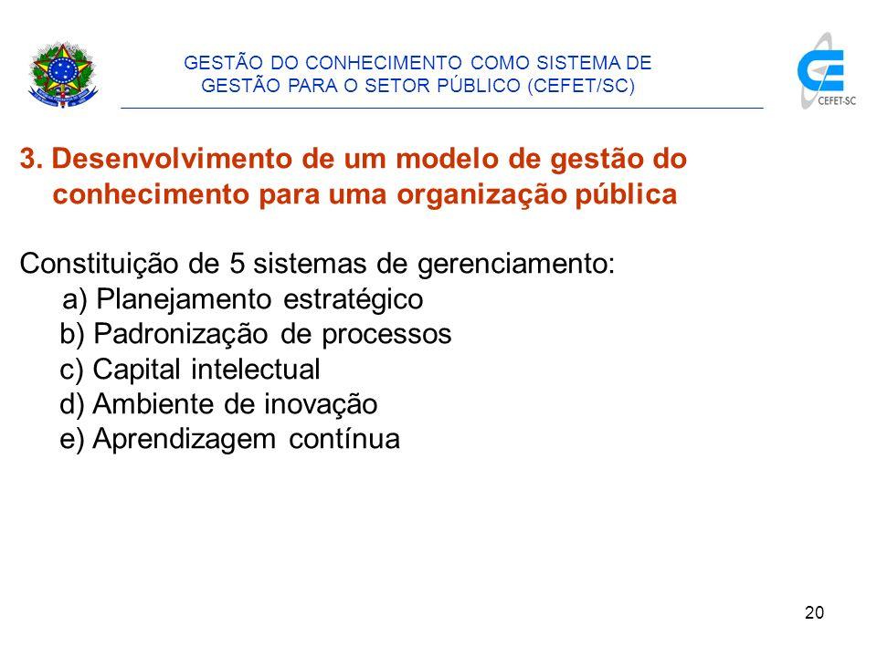 21 GESTÃO DO CONHECIMENTO COMO SISTEMA DE GESTÃO PARA O SETOR PÚBLICO (CEFET/SC) 3.