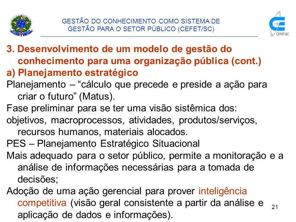 22 GESTÃO DO CONHECIMENTO COMO SISTEMA DE GESTÃO PARA O SETOR PÚBLICO (CEFET/SC) 3.