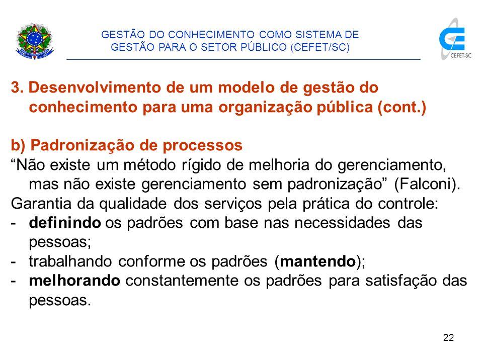 23 GESTÃO DO CONHECIMENTO COMO SISTEMA DE GESTÃO PARA O SETOR PÚBLICO (CEFET/SC) 3.