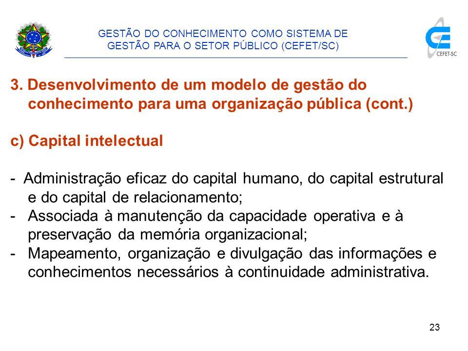 24 GESTÃO DO CONHECIMENTO COMO SISTEMA DE GESTÃO PARA O SETOR PÚBLICO (CEFET/SC) 3.