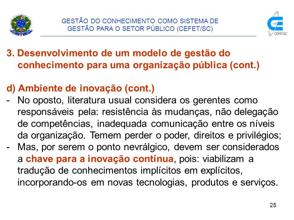 26 GESTÃO DO CONHECIMENTO COMO SISTEMA DE GESTÃO PARA O SETOR PÚBLICO (CEFET/SC) 3.