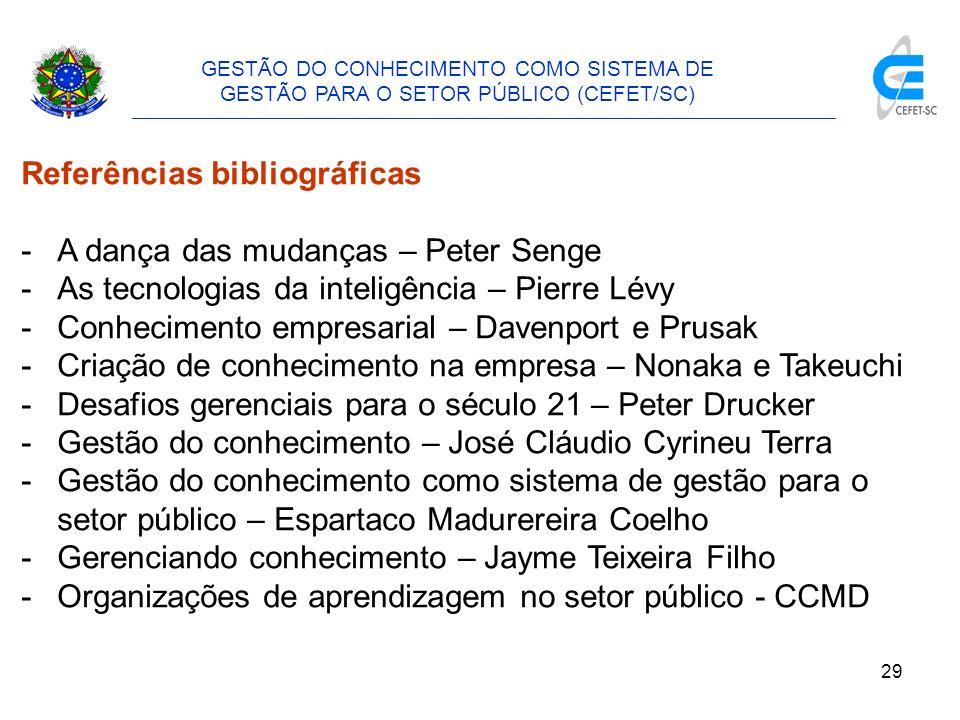30 GESTÃO DO CONHECIMENTO COMO SISTEMA DE GESTÃO PARA O SETOR PÚBLICO (CEFET/SC) 4.