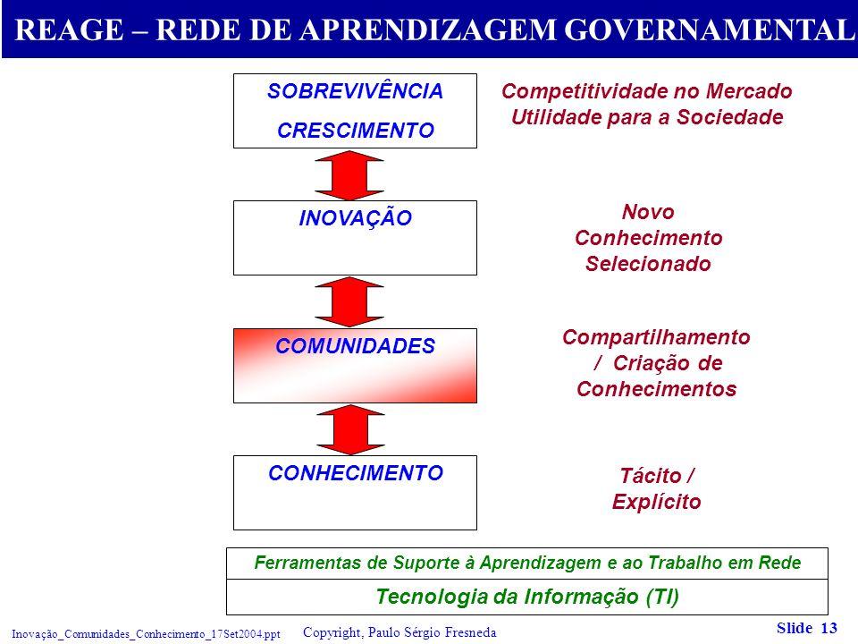 Gestão do Conhecimento e Comunidades Virtuais Inovação_Comunidades_Conhecimento_17Set2004.ppt Copyright, Paulo Sérgio Fresneda Slide 13 SOBREVIVÊNCIA