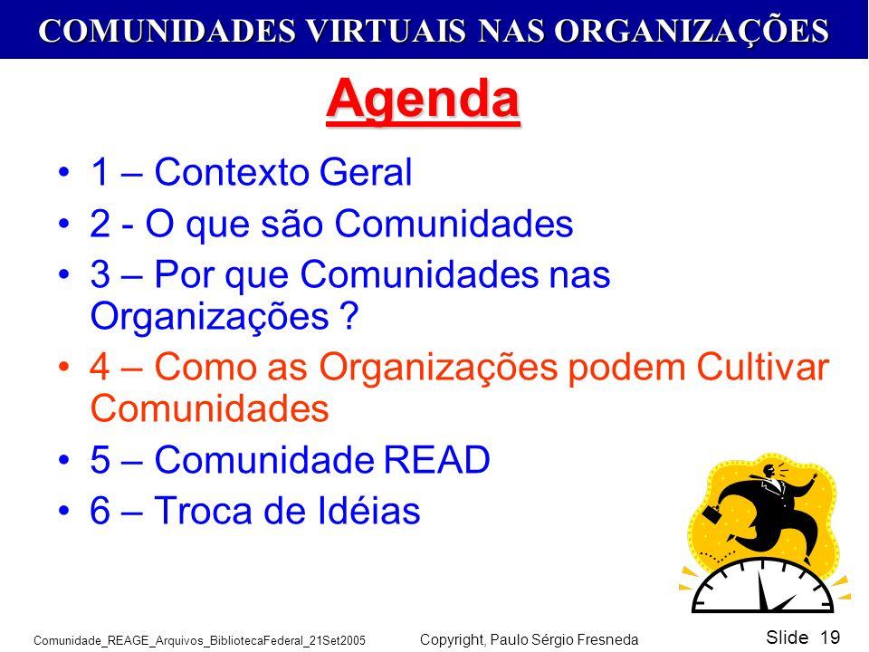 COMUNIDADES VIRTUAIS NAS ORGANIZAÇÕES Comunidade_REAGE_Arquivos_BibliotecaFederal_21Set2005 Copyright, Paulo Sérgio Fresneda Slide 19 1 – Contexto Ger