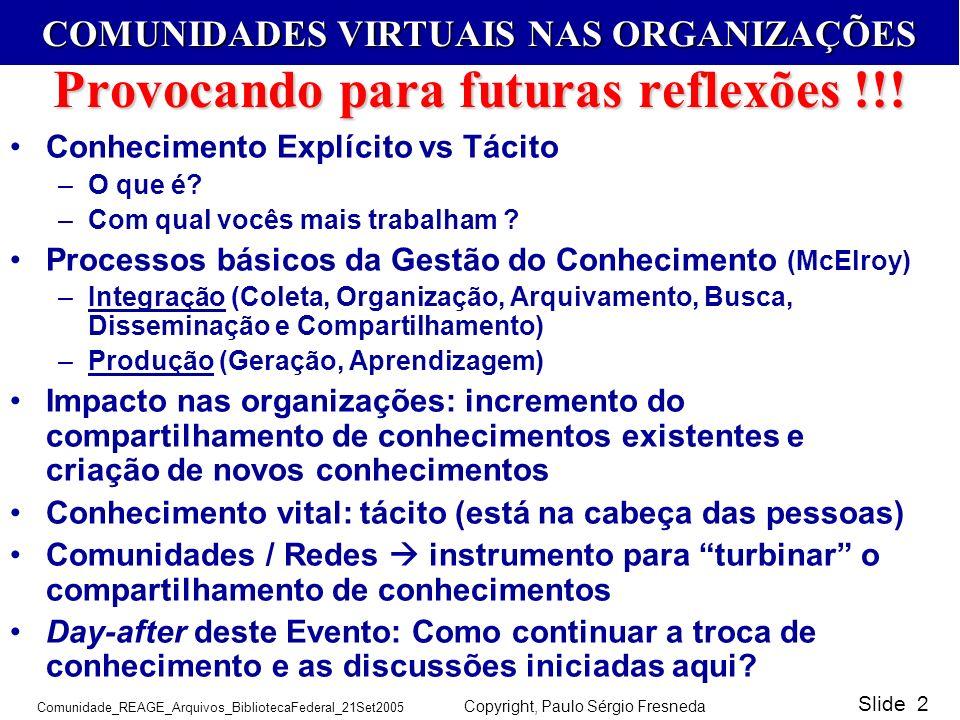 COMUNIDADES VIRTUAIS NAS ORGANIZAÇÕES Comunidade_REAGE_Arquivos_BibliotecaFederal_21Set2005 Copyright, Paulo Sérgio Fresneda Slide 2 Provocando para f