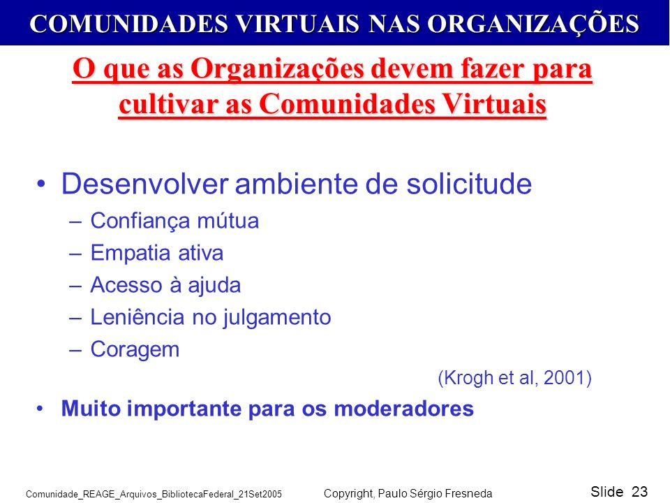 COMUNIDADES VIRTUAIS NAS ORGANIZAÇÕES Comunidade_REAGE_Arquivos_BibliotecaFederal_21Set2005 Copyright, Paulo Sérgio Fresneda Slide 23 O que as Organiz