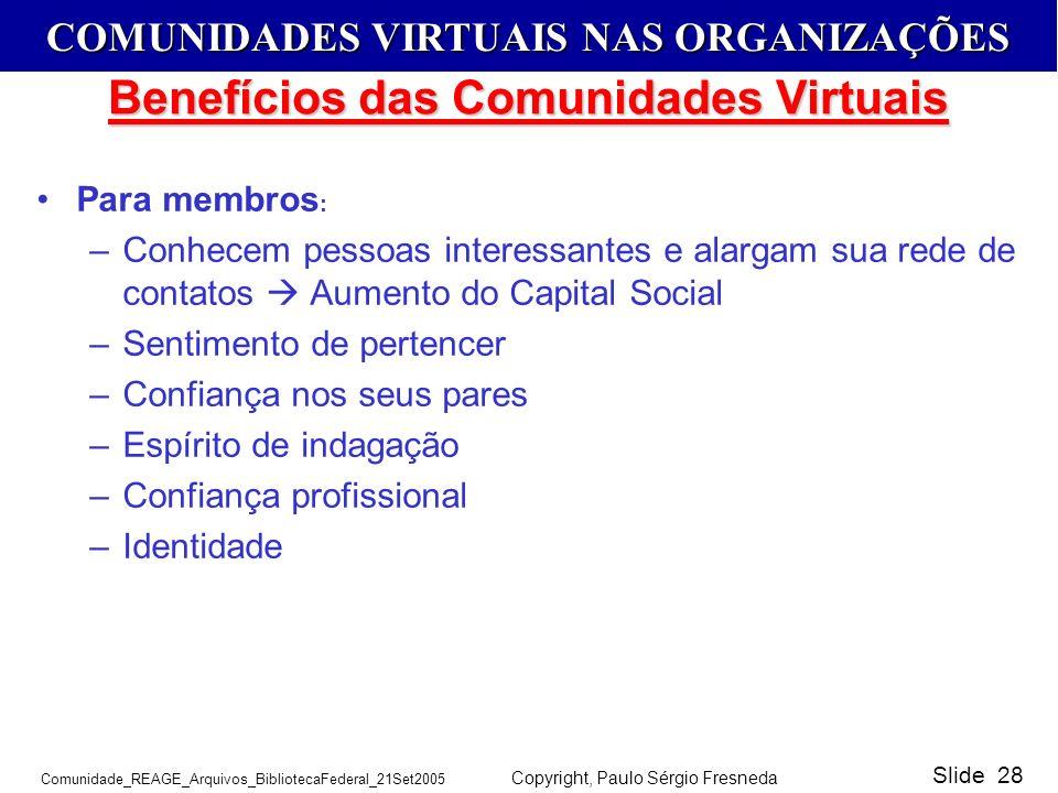COMUNIDADES VIRTUAIS NAS ORGANIZAÇÕES Comunidade_REAGE_Arquivos_BibliotecaFederal_21Set2005 Copyright, Paulo Sérgio Fresneda Slide 28 Benefícios das C