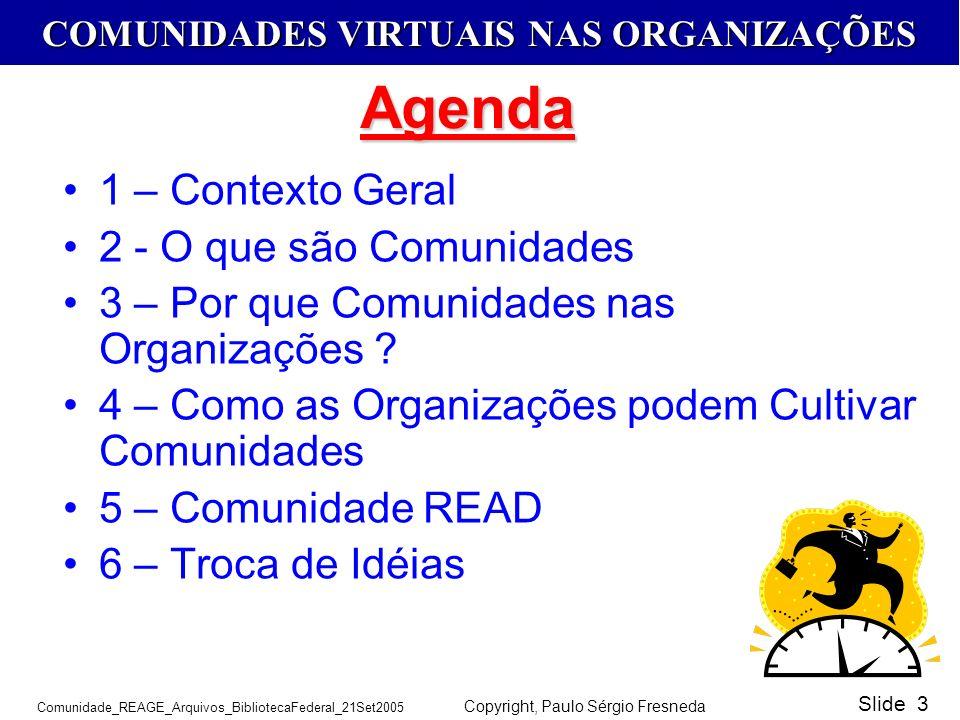 COMUNIDADES VIRTUAIS NAS ORGANIZAÇÕES Comunidade_REAGE_Arquivos_BibliotecaFederal_21Set2005 Copyright, Paulo Sérgio Fresneda Slide 3 1 – Contexto Gera
