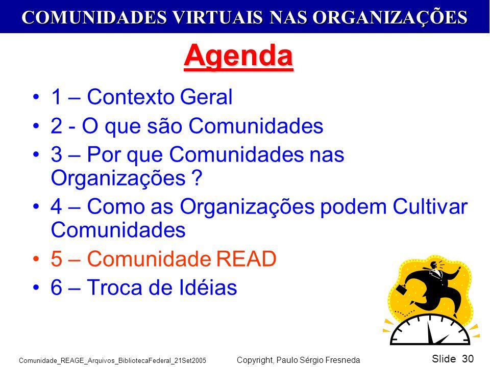 COMUNIDADES VIRTUAIS NAS ORGANIZAÇÕES Comunidade_REAGE_Arquivos_BibliotecaFederal_21Set2005 Copyright, Paulo Sérgio Fresneda Slide 30 1 – Contexto Ger
