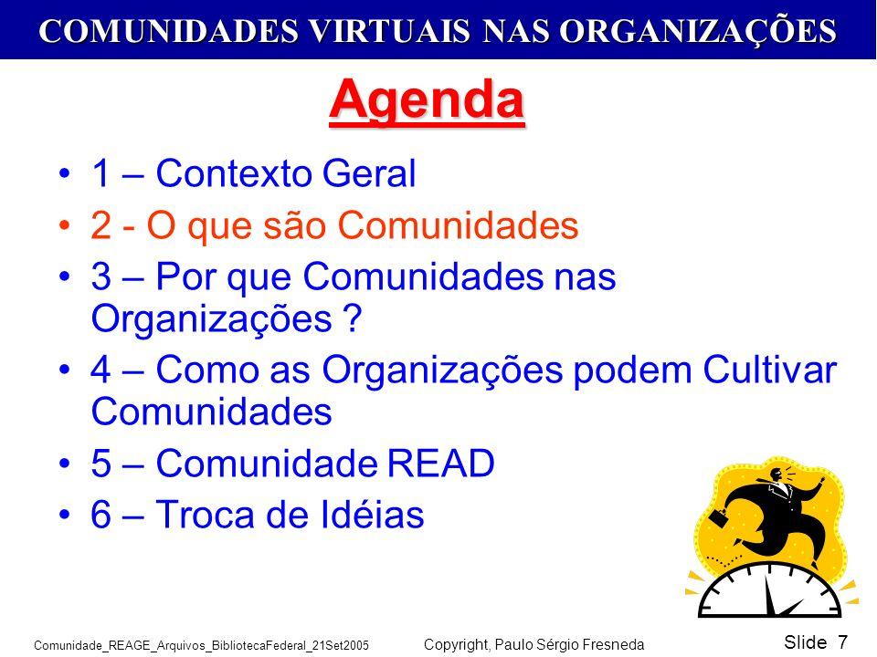 COMUNIDADES VIRTUAIS NAS ORGANIZAÇÕES Comunidade_REAGE_Arquivos_BibliotecaFederal_21Set2005 Copyright, Paulo Sérgio Fresneda Slide 7 1 – Contexto Gera
