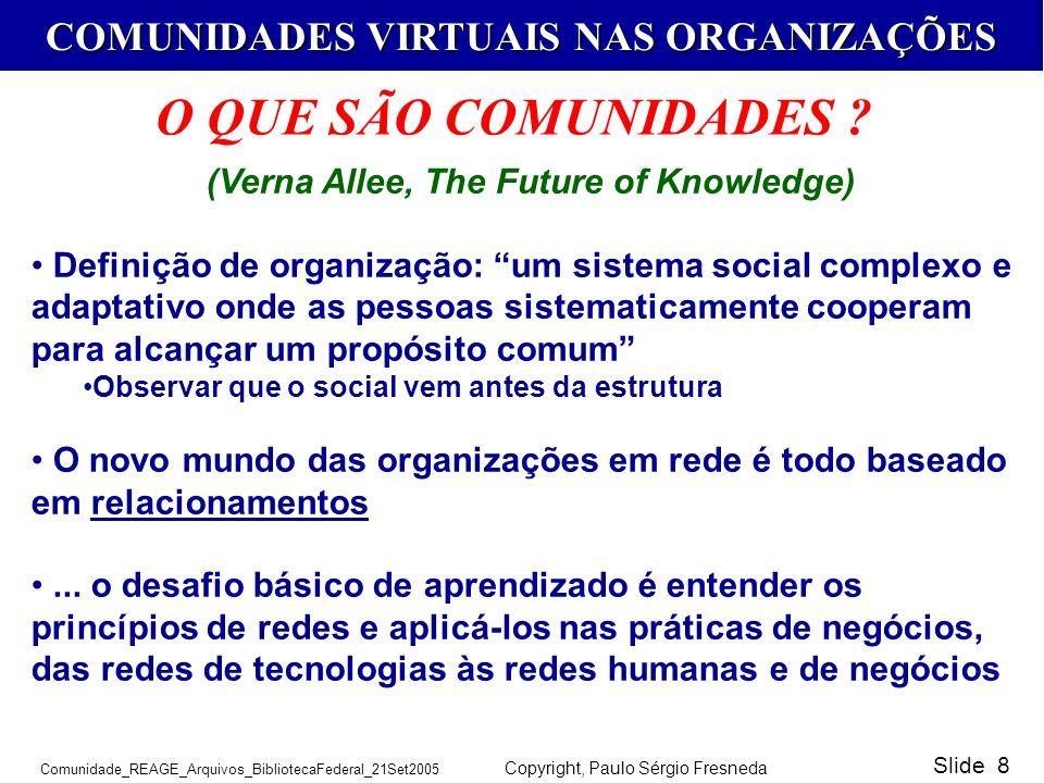 COMUNIDADES VIRTUAIS NAS ORGANIZAÇÕES Comunidade_REAGE_Arquivos_BibliotecaFederal_21Set2005 Copyright, Paulo Sérgio Fresneda Slide 8 (Verna Allee, The