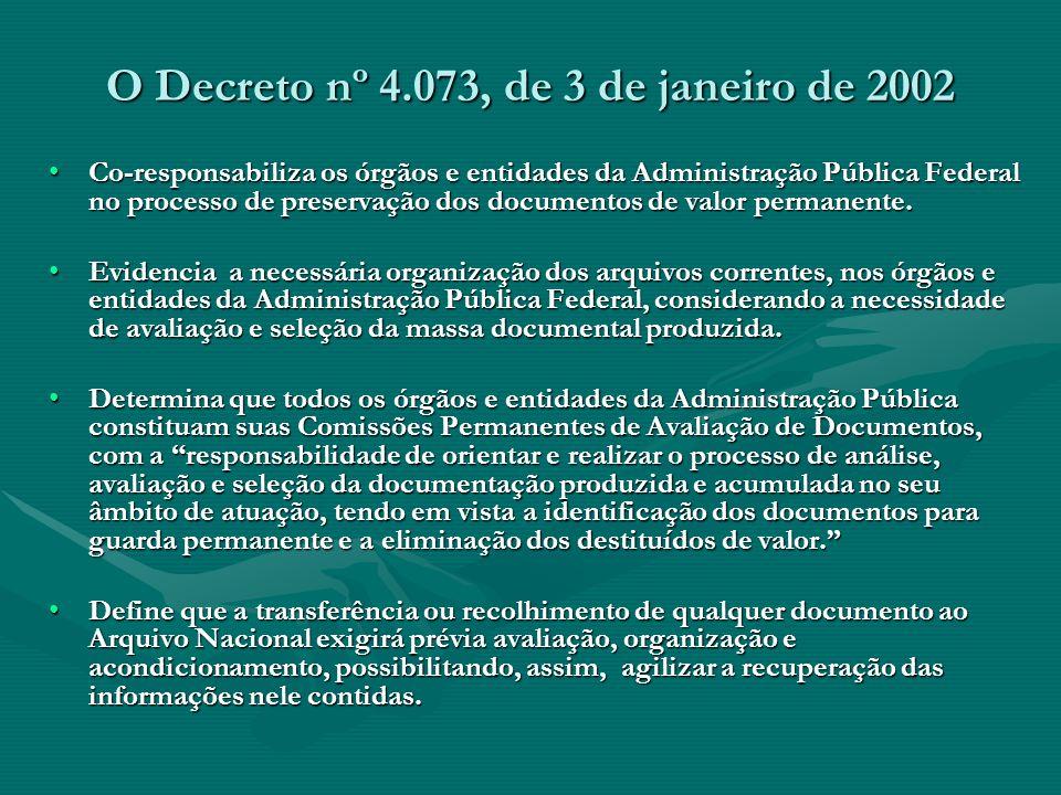 O Decreto nº 4.073, de 3 de janeiro de 2002 Co-responsabiliza os órgãos e entidades da Administração Pública Federal no processo de preservação dos do