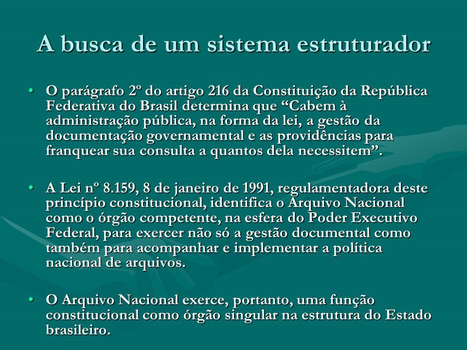 A busca de um sistema estruturador O parágrafo 2º do artigo 216 da Constituição da República Federativa do Brasil determina que Cabem à administração