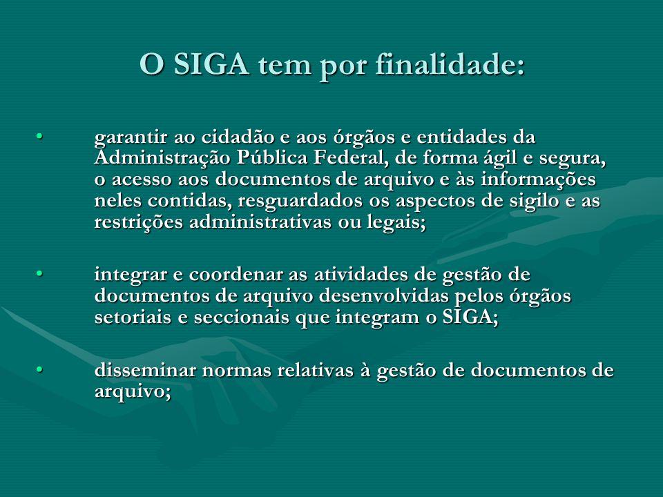 O SIGA tem por finalidade: garantir ao cidadão e aos órgãos e entidades da Administração Pública Federal, de forma ágil e segura, o acesso aos documen