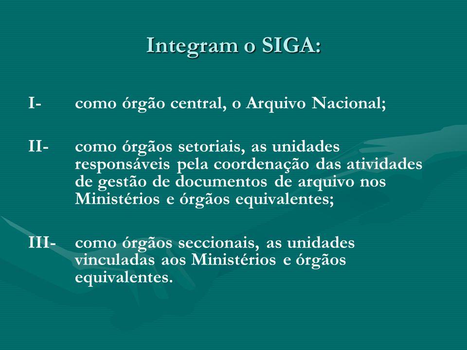 Integram o SIGA: I-como órgão central, o Arquivo Nacional; II-como órgãos setoriais, as unidades responsáveis pela coordenação das atividades de gestã