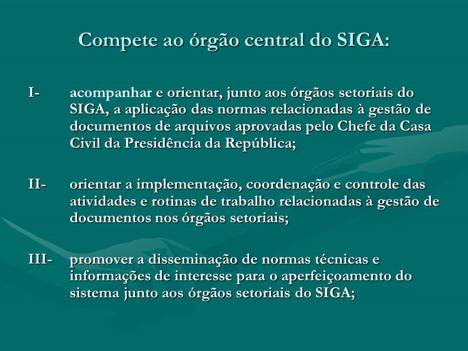Compete ao órgão central do SIGA: I- e orientar, junto aos órgãos setoriais do SIGA, a aplicação das normas relacionadas à gestão de documentos de arq