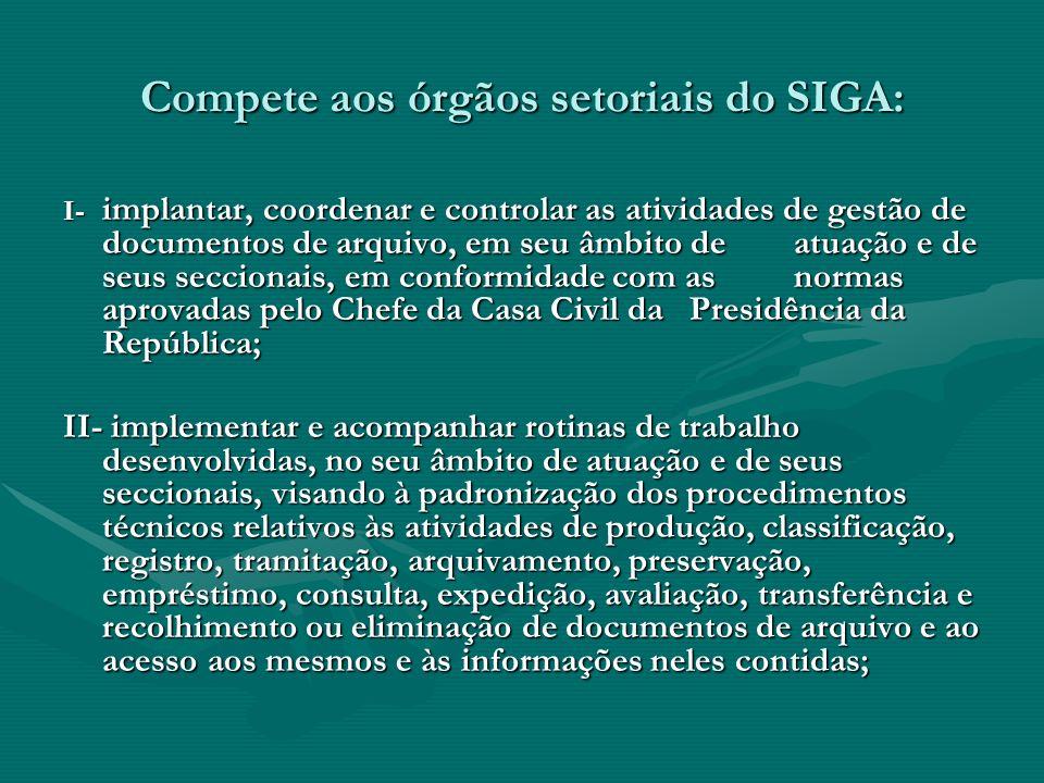 Compete aos órgãos setoriais do SIGA: I- implantar, coordenar e controlar as atividades de gestão de documentos de arquivo, em seu âmbito de atuação e
