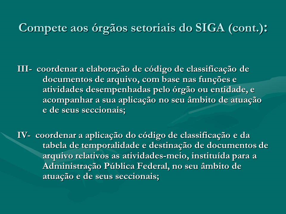 Compete aos órgãos setoriais do SIGA (cont.) : III- coordenar a elaboração de código de classificação de documentos de arquivo, com base nas funções e