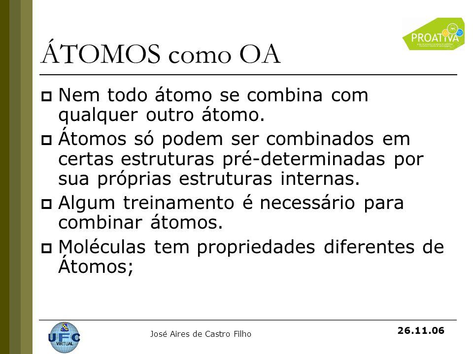 José Aires de Castro Filho 26.11.06 ÁTOMOS como OA Nem todo átomo se combina com qualquer outro átomo. Átomos só podem ser combinados em certas estrut
