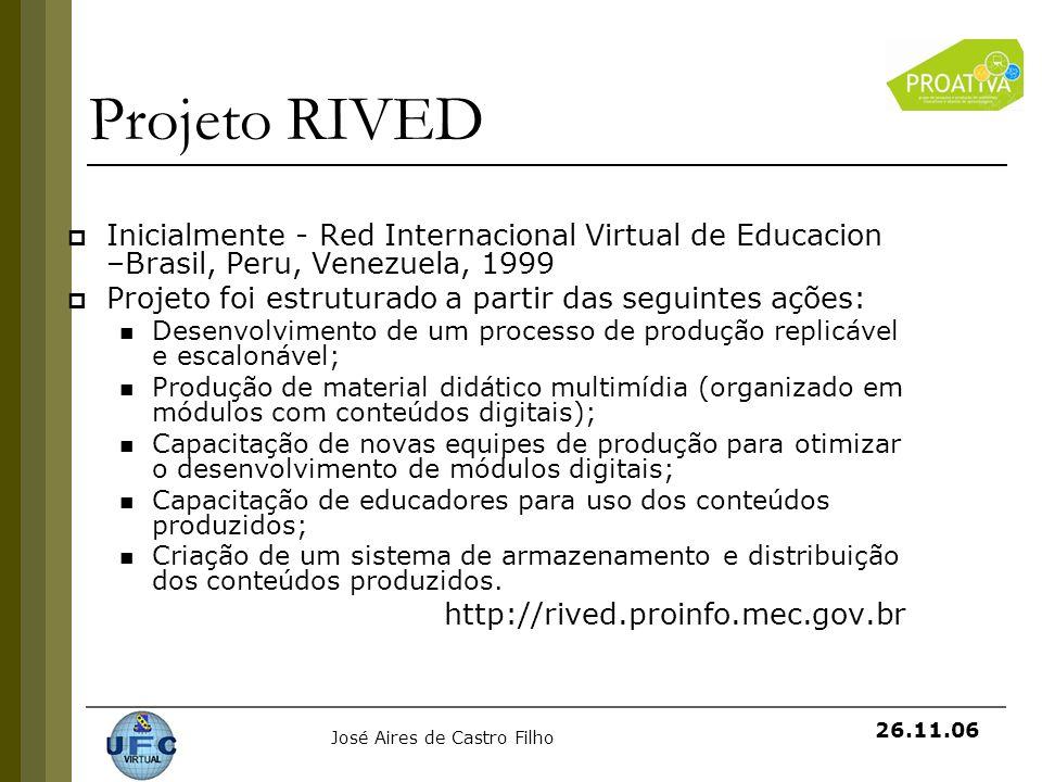 José Aires de Castro Filho 26.11.06 Projeto RIVED Inicialmente - Red Internacional Virtual de Educacion –Brasil, Peru, Venezuela, 1999 Projeto foi est