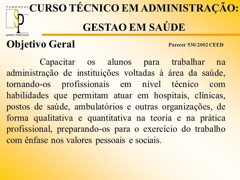 Objetivo Geral Capacitar os alunos para trabalhar na administração de instituições voltadas à área da saúde, tornando-os profissionais em nível técnic