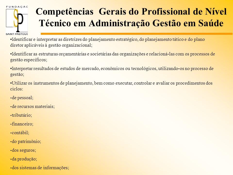 Competências Gerais do Profissional de Nível Técnico em Administração Gestão em Saúde Identificar e interpretar as diretrizes do planejamento estratég