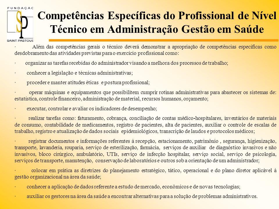 Competências Específicas do Profissional de Nível Técnico em Administração Gestão em Saúde · Além das competências gerais o técnico deverá demonstrar
