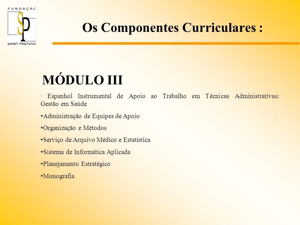 Os Componentes Curriculares : MÓDULO III · Espanhol Instrumental de Apoio ao Trabalho em Técnicas Administrativas: Gestão em Saúde Administração de Eq