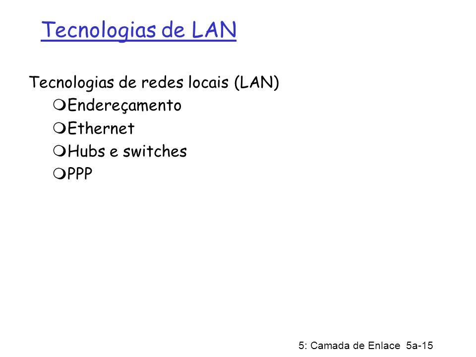 5: Camada de Enlace 5a-15 Tecnologias de LAN Tecnologias de redes locais (LAN) Endereçamento Ethernet Hubs e switches PPP