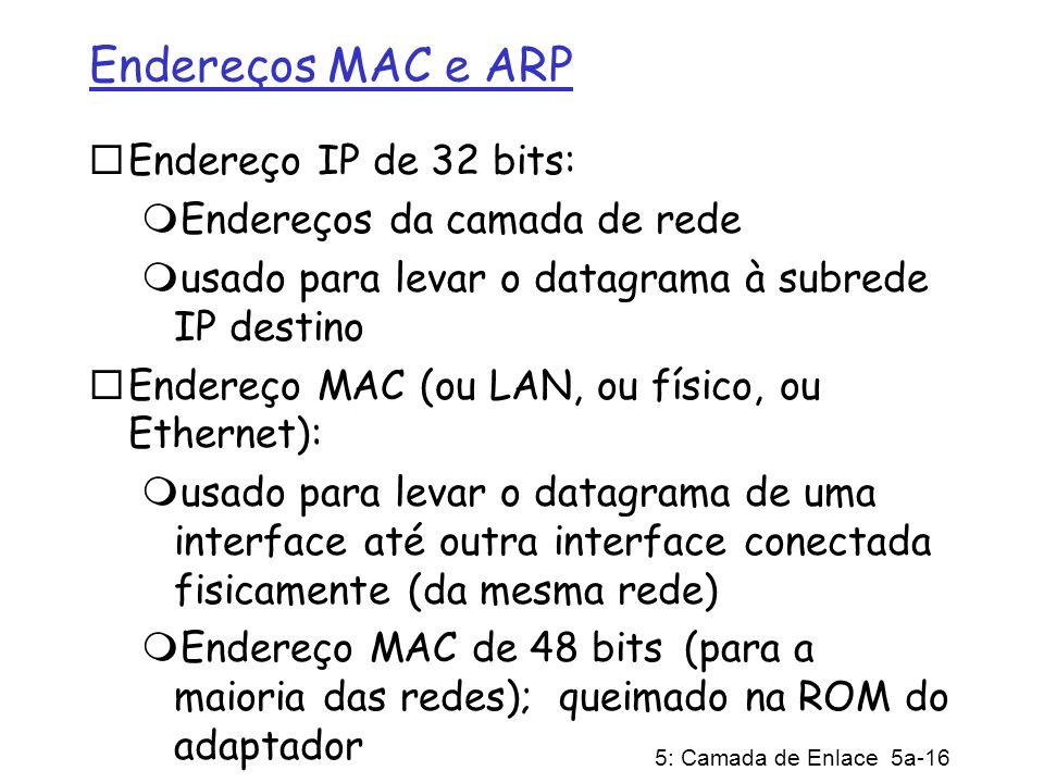 5: Camada de Enlace 5a-16 Endereços MAC e ARP Endereço IP de 32 bits: Endereços da camada de rede usado para levar o datagrama à subrede IP destino En