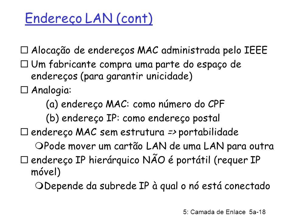 5: Camada de Enlace 5a-18 Endereço LAN (cont) Alocação de endereços MAC administrada pelo IEEE Um fabricante compra uma parte do espaço de endereços (