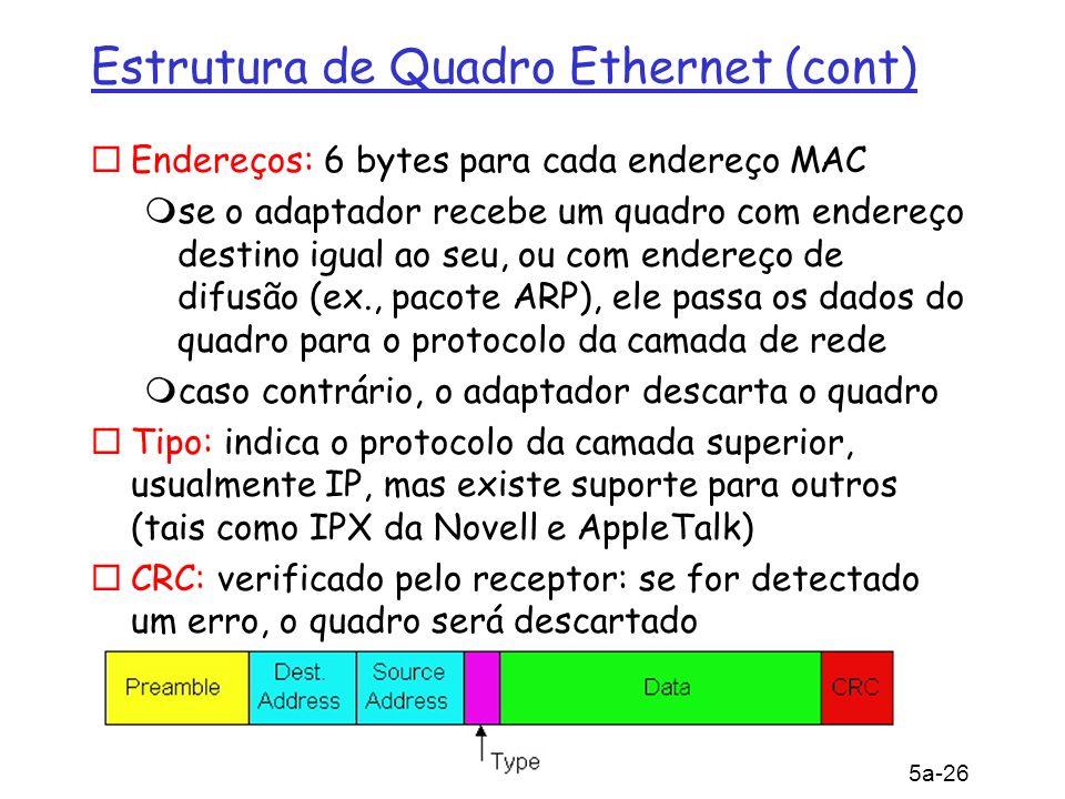 5: Camada de Enlace 5a-26 Estrutura de Quadro Ethernet (cont) Endereços: 6 bytes para cada endereço MAC se o adaptador recebe um quadro com endereço d