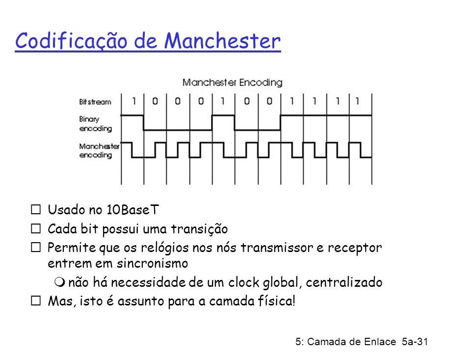 5: Camada de Enlace 5a-31 Codificação de Manchester Usado no 10BaseT Cada bit possui uma transição Permite que os relógios nos nós transmissor e recep