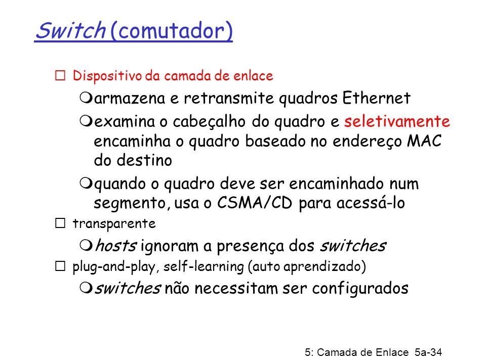 5: Camada de Enlace 5a-34 Switch (comutador) Dispositivo da camada de enlace armazena e retransmite quadros Ethernet examina o cabeçalho do quadro e s