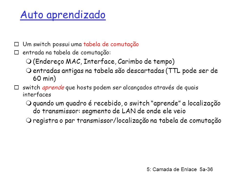5: Camada de Enlace 5a-36 Auto aprendizado Um switch possui uma tabela de comutação entrada na tabela de comutação: (Endereço MAC, Interface, Carimbo