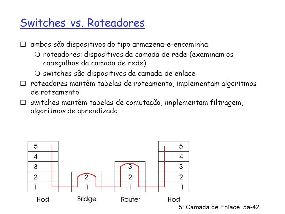 5: Camada de Enlace 5a-42 Switches vs. Roteadores ambos são dispositivos do tipo armazena-e-encaminha roteadores: dispositivos da camada de rede (exam