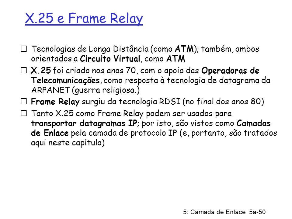 5: Camada de Enlace 5a-50 X.25 e Frame Relay Tecnologias de Longa Distância (como ATM); também, ambos orientados a Circuito Virtual, como ATM X.25 foi