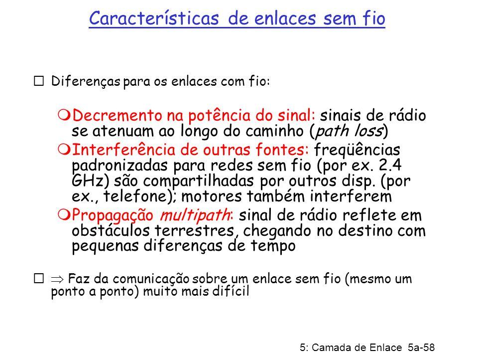 5: Camada de Enlace 5a-58 Características de enlaces sem fio Diferenças para os enlaces com fio: Decremento na potência do sinal: sinais de rádio se a