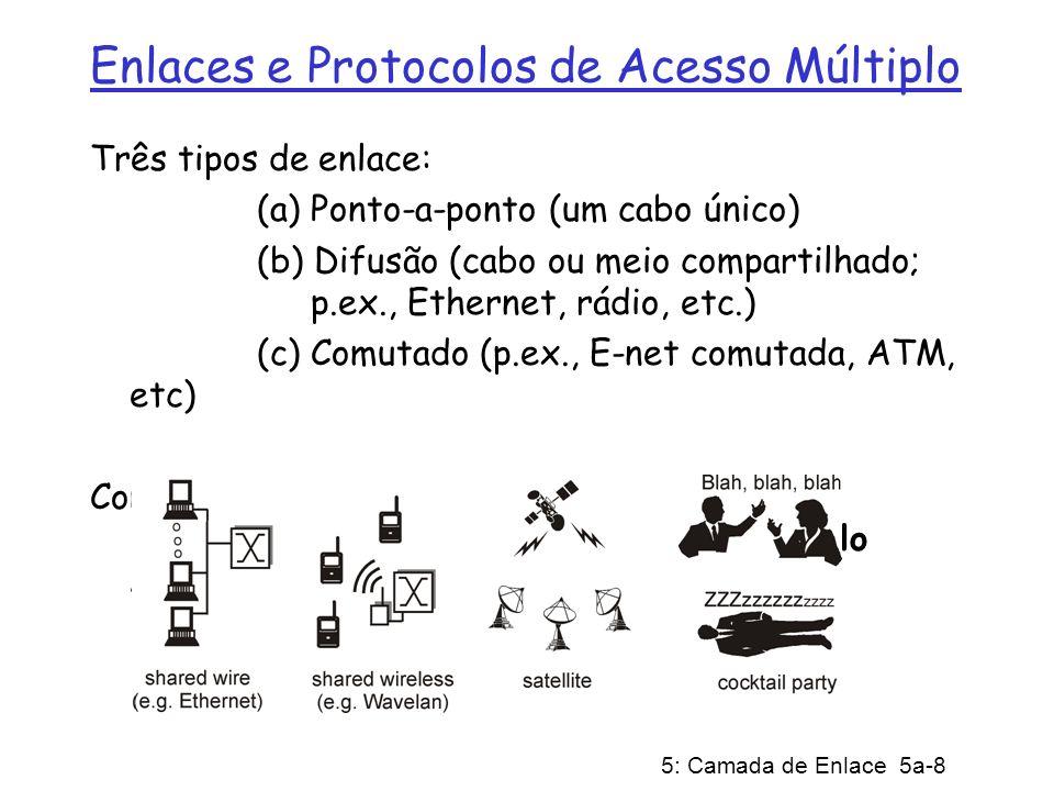 5: Camada de Enlace 5a-19 ARP: Address Resolution Protocol (Protocolo de Resolução de Endereços) Cada nó IP (Host, Roteador) de uma LAN possui tabela ARP Tabela ARP: mapeamento de endereços IP/MAC para alguns nós da LAN TTL (Time To Live): tempo a partir do qual o mapeamento de endereços será esquecido (valor típico de 20 min) Pergunta: como obter o endereço MAC de B a partir do endereço IP de B.