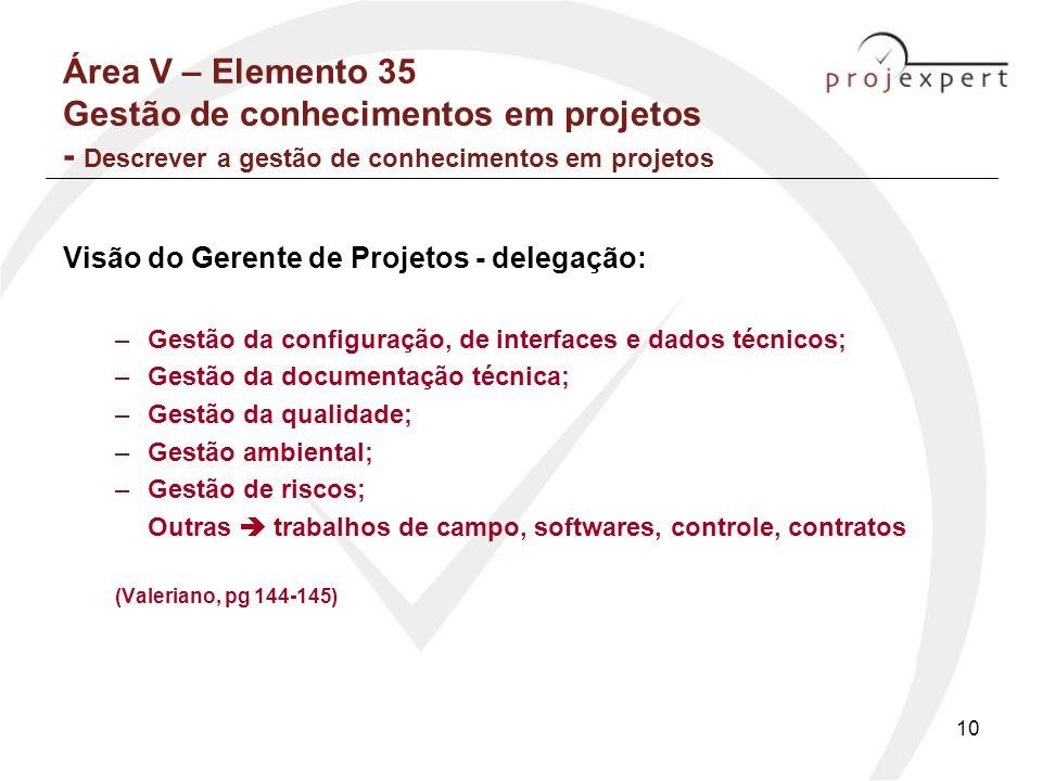 10 Área V – Elemento 35 Gestão de conhecimentos em projetos - Descrever a gestão de conhecimentos em projetos Visão do Gerente de Projetos - delegação