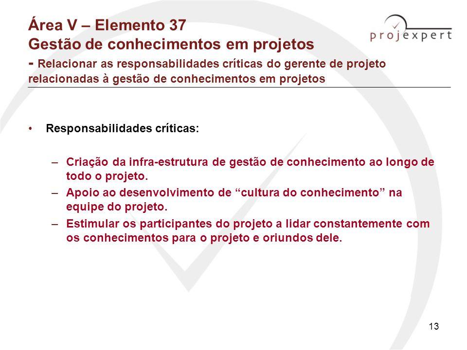 13 Área V – Elemento 37 Gestão de conhecimentos em projetos - Relacionar as responsabilidades críticas do gerente de projeto relacionadas à gestão de