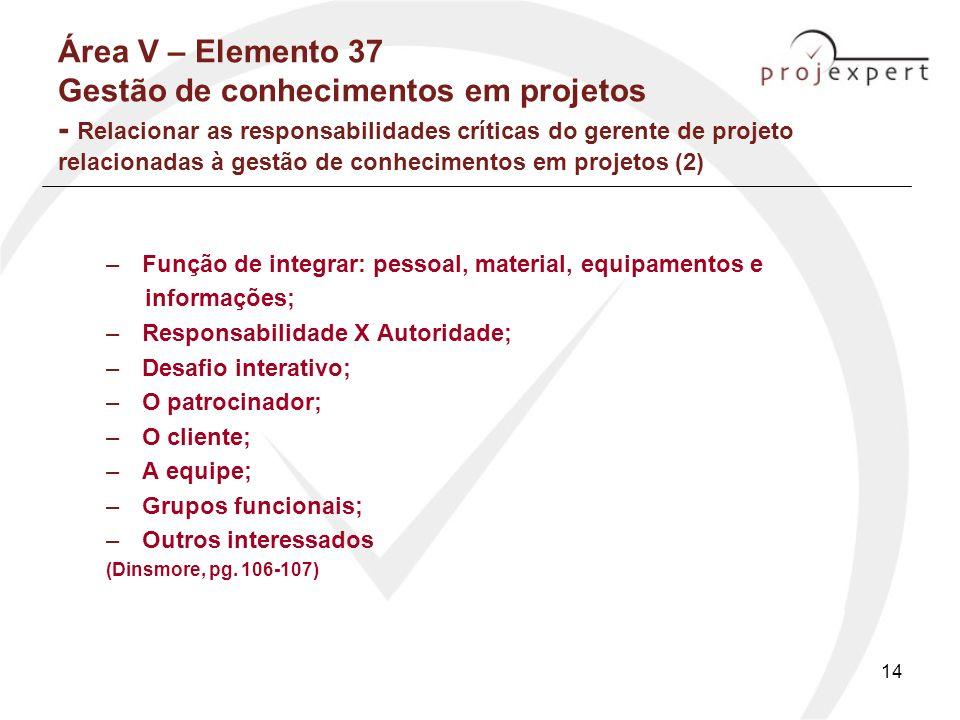 14 Área V – Elemento 37 Gestão de conhecimentos em projetos - Relacionar as responsabilidades críticas do gerente de projeto relacionadas à gestão de
