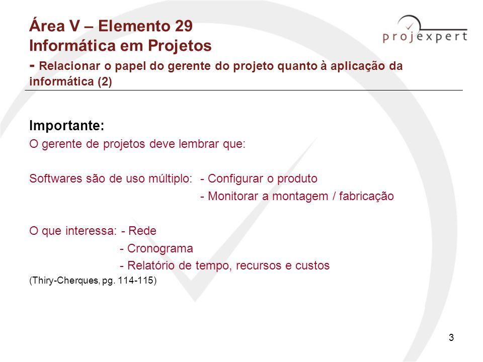 3 Área V – Elemento 29 Informática em Projetos - Relacionar o papel do gerente do projeto quanto à aplicação da informática (2) Importante: O gerente