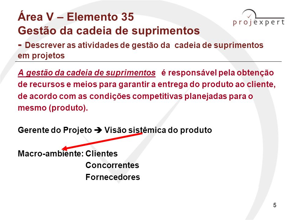 5 Área V – Elemento 35 Gestão da cadeia de suprimentos - Descrever as atividades de gestão da cadeia de suprimentos em projetos A gestão da cadeia de