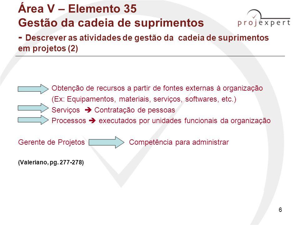 7 Área V – Elemento 35 Gestão da cadeia de suprimentos - Relacionar os aspectos principais entre a gestão da cadeia de suprimentos e o gerenciamento de projetos Visão geral sobre o projeto ampliado do produto, incluindo a cadeia de suprimentos; Análise do escopo do produto, bem como seus desdobramentos para a cadeia de suprimentos; Busca de conexões vitais, externas ao projeto, que possam contribuir para o seu sucesso; Análise de soluções alternativas na cadeia de suprimentos que possam influenciar os objetivos planejados para o produto; Recomendações importantes sobre particularidades relevantes da cadeia de suprimentos, as quais poderão ser empregadas posteriormente na fase de operações